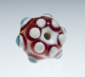 Red, sky-blue and white dot bead